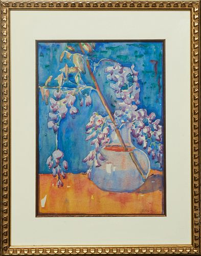 """Jane Randolph Whipple (1910-2007, Louisiana), """"Wisteria Still Life,"""" 20th c., watercolor on paper, signed lower right, presented in a gilt frame, H.-"""