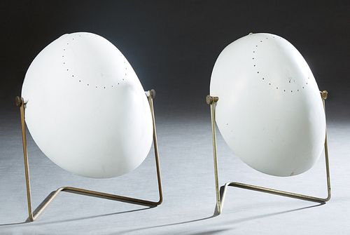 """Pair of Mid Century Modern Gerald Thurston For Lightolier White """"Cricket"""" Table Lamps, c. 1950, with an oval white plastic shade and an iron tube ease"""