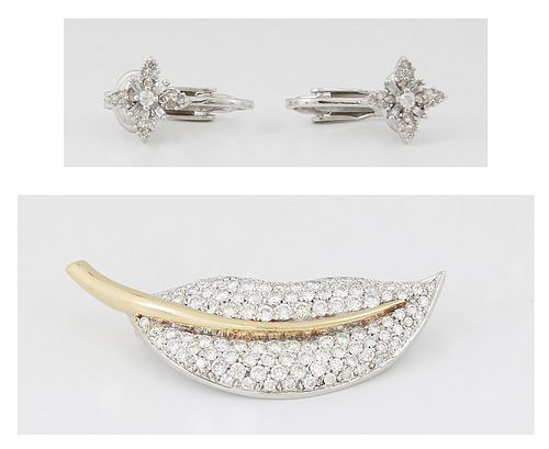 Vintage 18K Yellow and White Gold Leaf Brooch, mounted with numerous small diamonds; together with a pair of diminutive white gold clip earrings with
