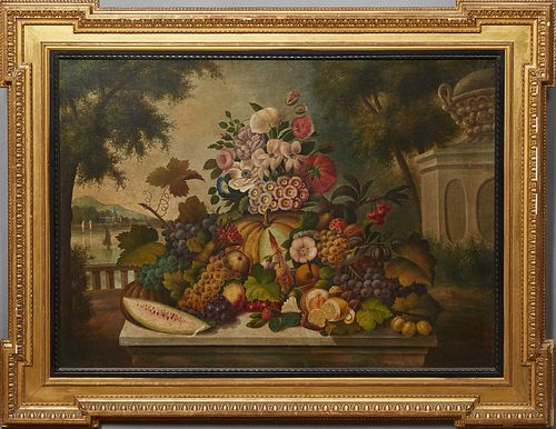 """Dutch School, """"Still Life of Fruit and Flowers,"""" 17/18th c., oil on canvas, presented in a gilt and gesso William Kent style frame, H.- 27 3/4 in., W."""