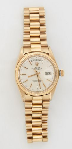 """Man's 18K Yellow Gold Rolex Oyster Perpetual Day Date """"Presidential"""" Wristwatch, with an Italian 18K yellow gold link band, running. Provenance: The E"""