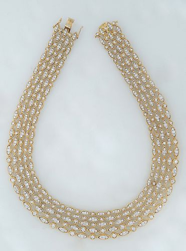 18K Yellow Gold Link Necklace, with five parallel strands, each of the sixty links with a round 3 point diamond mounted link, over an oval link with t