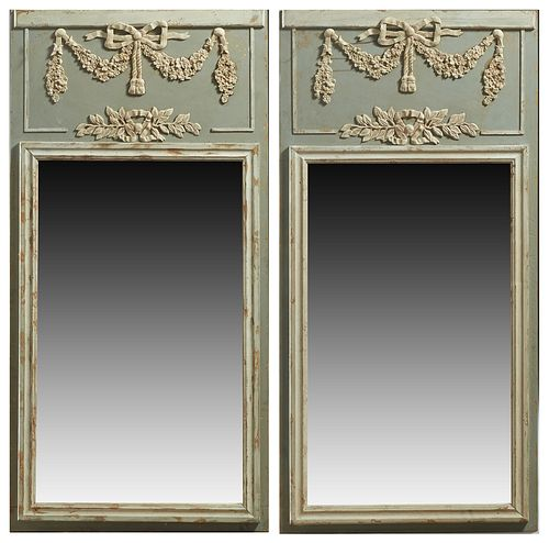 Pair of Louis XVI Style Polychromed Trumeau Mirrors, 20th c., the top with a relief bow, garland and leaf relief frieze, over a rectangular plate with