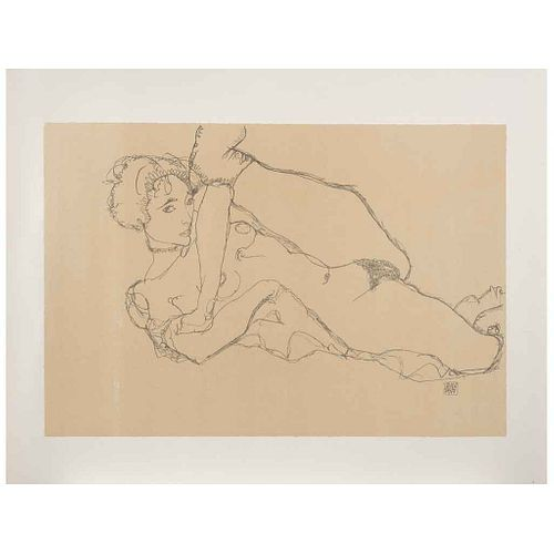 "EGON SCHIELE, Nu la jambe levée, Signed on plate, Lithography without print number, posthumous edition, 21.2 x 14.3"" (54 x 36.5 cm)"