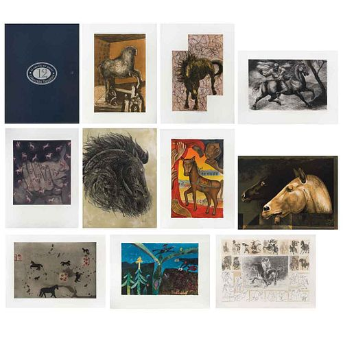 "Various artists, El caballo en papel, Signed, Lithographies 109 / 150, 31.4 x 23.6"" (80 x 60 cm) total binder measurements, Pieces: 10 in binder"