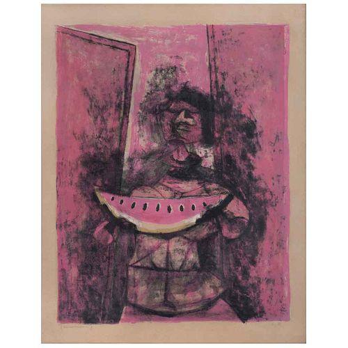 "RUFINO TAMAYO Mujer con sandía, 1950, Signed, Lithography E. A., 21.4 x 16.7"" (54.6 x 42.5 cm)"