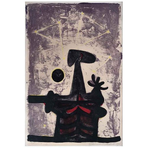 """RUFINO TAMAYO, Hombre, luna y estrellas, 1950, Signed, Lithography, Artist's edition 12 / 15, 19.6 x 12.9"""" (50 x 33 cm)"""
