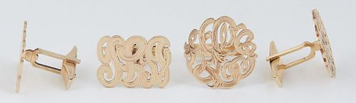 """Two Pair of 14K Yellow Gold Monogram Cufflinks, with """"JBL"""" initials, one pair horizontal and the other pair circular, Horizontal- H.- 9/16 in., W.- 15"""