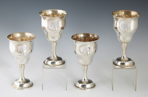 """Set of Four Sterling Goblets, by Gorham, #1033, in the """"Chantilly"""" pattern , H.- 6 1/2 in., Dia.- 3 3/8 in., Wt.- 24.65 Troy Oz. (4 Pcs.)"""