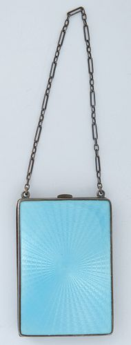 Guilloche Enamel and Silver Coin Purse/Compact, early 20th c., the interior with two coin holders, and a beveled mirror powder compartment, monogramme