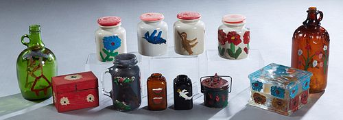 Clementine Hunter (1887-1988, Louisiana), Group of 12 Painted Objects, all from the Yvonne Ryan Collection, consisting of a metal index card file box,
