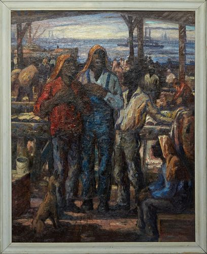 """Knute Heldner (1875-1952, Swedish/New Orleans), """"Singing by the Mississippi River,"""" oil on canvas, signed lower right, presented in a wood frame, H.-"""