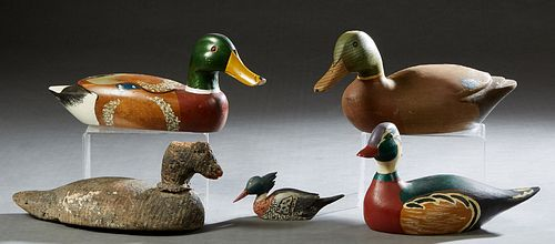 """Four Duck Decoys, 20th c., one Dogris marked Hogarth; 2 blue winged teal; and a widgeon; together with a diminutive carved """"First Merganser,"""" 1975, by"""