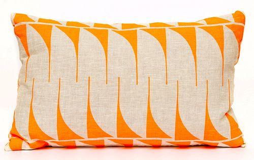 Linen Lumbar Pillow / Fluorescent Orange on Natural