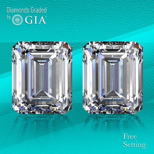 10.09 carat diamond pair Emerald cut Diamond GIA Graded 1) 5.01 ct, Color D, VS1 2) 5.08 ct, Color D, VS2. Unmounted. Appraised Value: $1,166,900