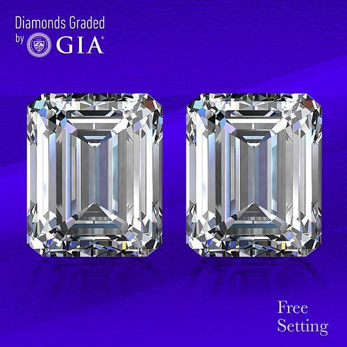 10.02 carat diamond pair Emerald cut Diamond GIA Graded 1) 5.01 ct, Color G, VVS2 2) 5.01 ct, Color G, VS1. Unmounted. Appraised Value: $766,600