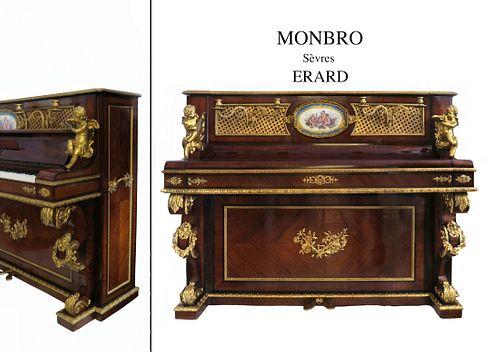 A NAPOLEON III ORMOLU-MOUNTED SEVRES UPRIGHT PIANO