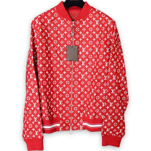 Supreme X Louis Vuitton Red Leather Baseball Jacket