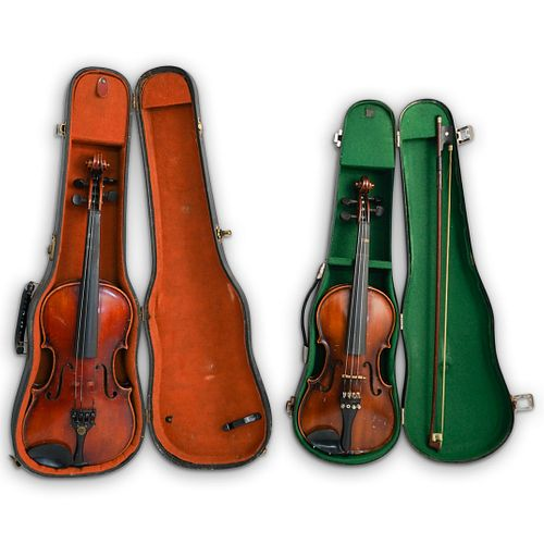 (3Pc) Antique German Violin Grouping