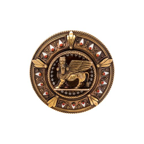 ASSYRIAN REVIVAL, YELLOW GOLD AND ENAMEL BROOCH