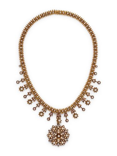 ANTIQUE, YELLOW GOLD AND PEARL CONVERTIBLE NECKLACE