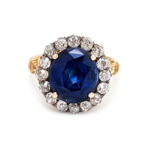 BURMESE SAPPHIRE AND DIAMOND RING