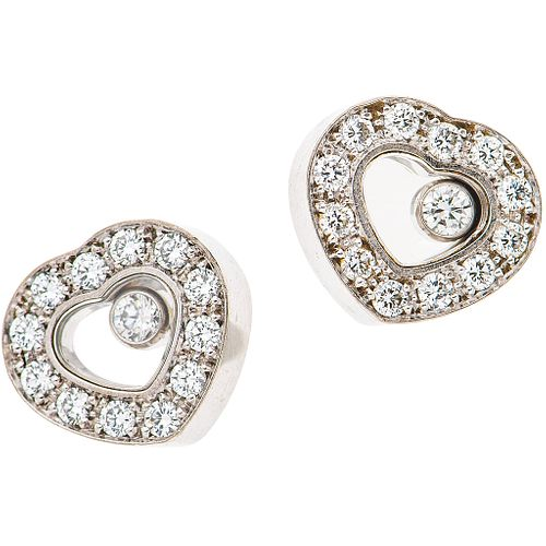 PAIR OF STUD EARRINGS WITH DIAMONDS IN 18K WHITE GOLD, CHOPARD, HAPPY DIAMONDS COLLECTION 26 Brilliant cut diamonds