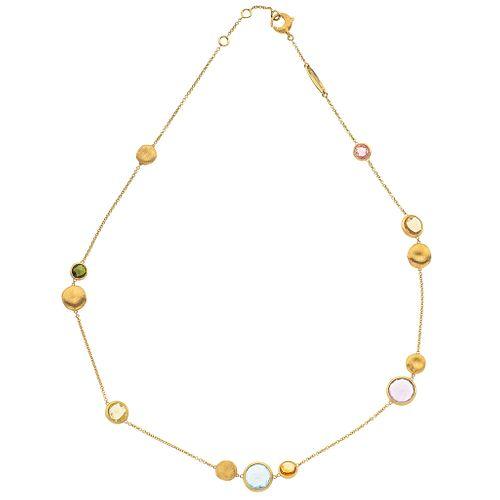 CHOKER WITH SEMI-PRECIOUS GEMS IN 18K YELLOW GOLD, MARCO BICEGO 7 Round cut semi-precious gemstones ~8.80 ct