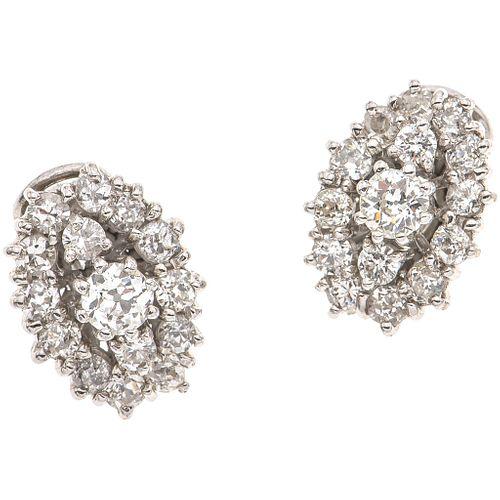 PAIR OF EARRINGS WITH DIAMONDS IN PALLADIUM SILVER 2 Antique cut diamonds~0.68 ct Clarity: SI2-I1, 28 Antique cut diamonds~1.96ct