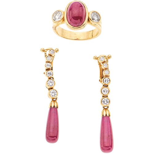 SET OF RING AND PAIR OF EARRINGS WITH RUBIES AND DIAMONDS IN 18K YELLOW GOLD 3 Rubies (different cuts) and 14 Brilliant cut diamonds