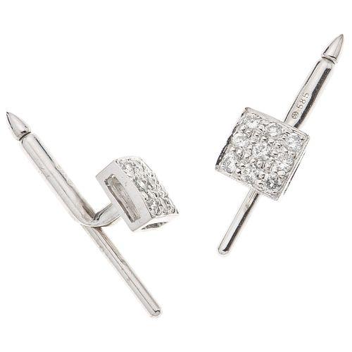 "PAIR OF CUFFLINKS WITH DIAMONDS IN 14K WHITE GOLD 18 Brilliant cut diamonds ~0.54 ct. Weight: 3.8 g. Size: 0.27 x 0.27"" (0.7 x 0.7 cm)"