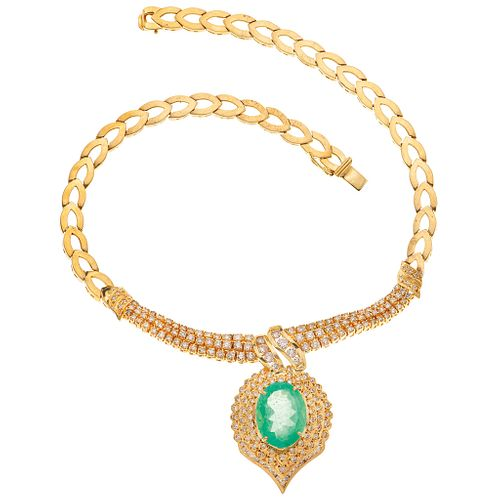CHOKER WITH EMERALD AND DIAMONDS IN 18K YELLOW GOLD 1 Oval cut emerald~16.0ct and 198 Brilliant cut diamonds~6.0ct