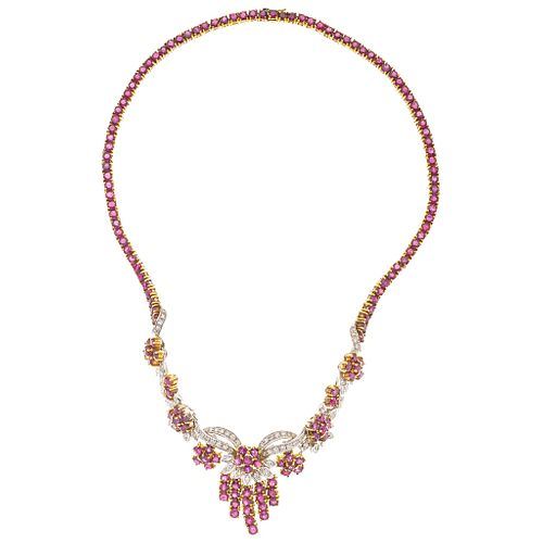 CHOKER WITH RUBIES AND DIAMONDS IN 18K YELLOW GOLD 153 Round cut rubies ~15.0 ctandy 75 Brilliant cut diamonds ~0.90 ct