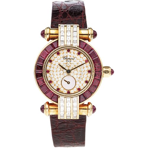 CHOPARD IMPERIALE LADY WATCH WITH DIAMONDS AND RUBIES IN 18K YELLOW GOLD REF. 4156  Movement: quartz