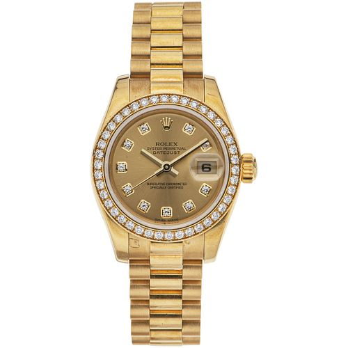 ROLEX OYSTER PERPETUAL DATEJUST LADY WATCH WITH DIAMONDS IN 18K YELLOW GOLD REF. 179138,CA. 2001 Movement: automatic Weight:103.6g