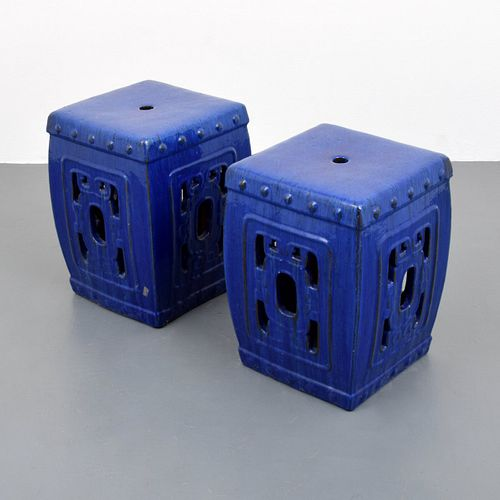 Pair of Ceramic Stools/End Tables, Paige Rense Noland Estate