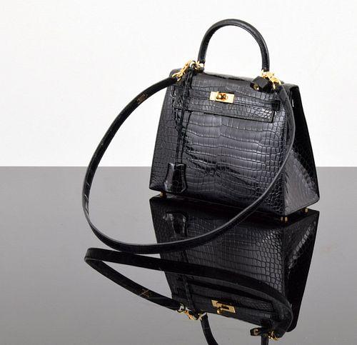 "Hermes Alligator ""Sellier Kelly 25"" Handbag"