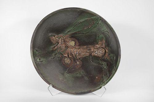 Ken Ferguson, Green Hare Platter, 1993