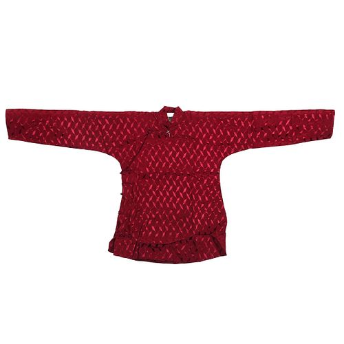 A CHINESE LADY'S RED-GROUND EMBROIDERED ROBE