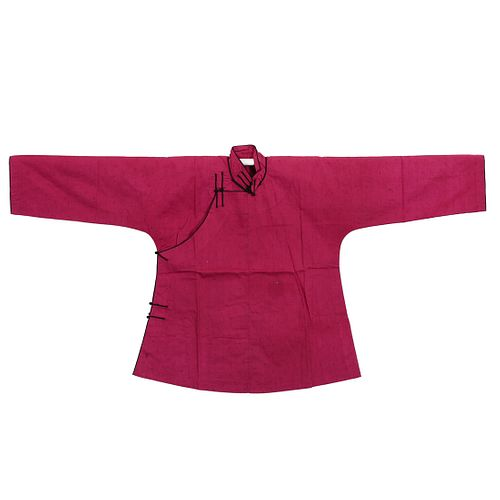 A CHINESE RED-GROUND EMBROIDERED LADY'S ROBE