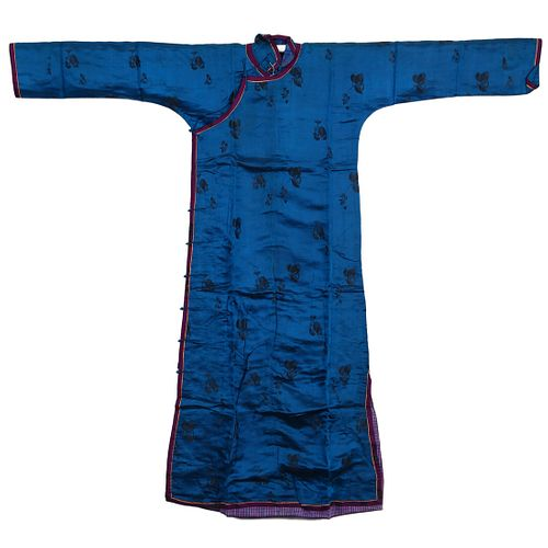 A CHINESE BLUE-GROUND EMBROIDERED LADY'S ROBE