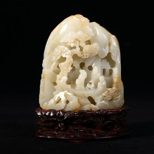 A WHITE JADE LANDSCAPE AND FIGURES CARVING