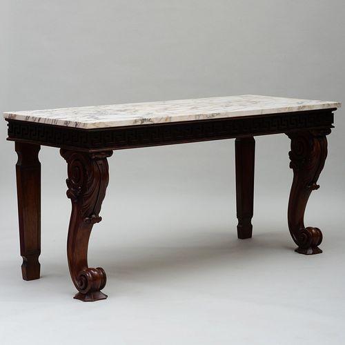 Large George IV Carved Mahogany Console Table, Irish