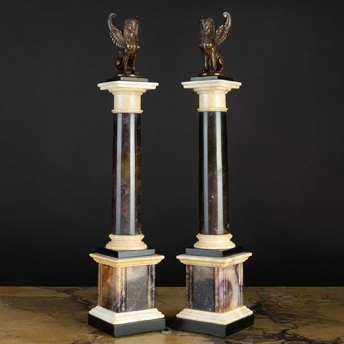 Pair of Patinated Bronze-Mounted Blue John and Marble Columns