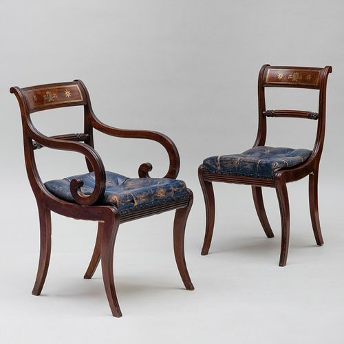 Fine Set of Fourteen Regency Brass Inlaid Mahogany and Rosewood Dining Chairs