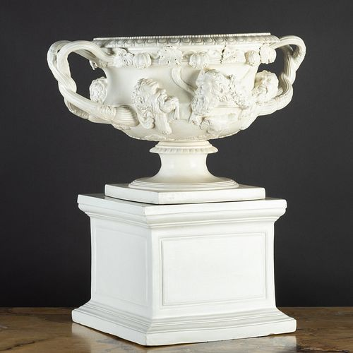 Continental Glazed Ceramic Model of the 'Warwick Vase' on a Stand