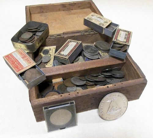 A quantity of 18th/19th century silver and copper coinage to include crowns, some US crowns etc (a p