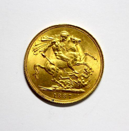 Victoria gold sovereign, 1887, hooked J?, VF or better