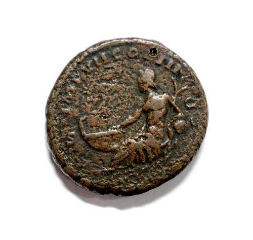 Marcus Aurelius (174-175 AD) AE AS, laureate head right, river god Tiber reclining resting hand on p