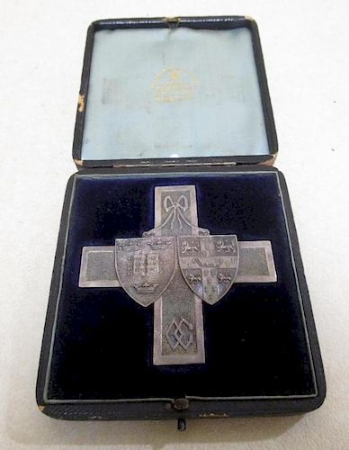 An Oxford and Cambridge Rifle Match, Wimbledon 1888, cruciform silver prize medal, 68mm, engraved to